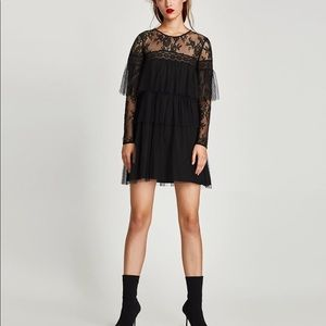 RUFFLED DOTTED MESH DRESS WITH LACE